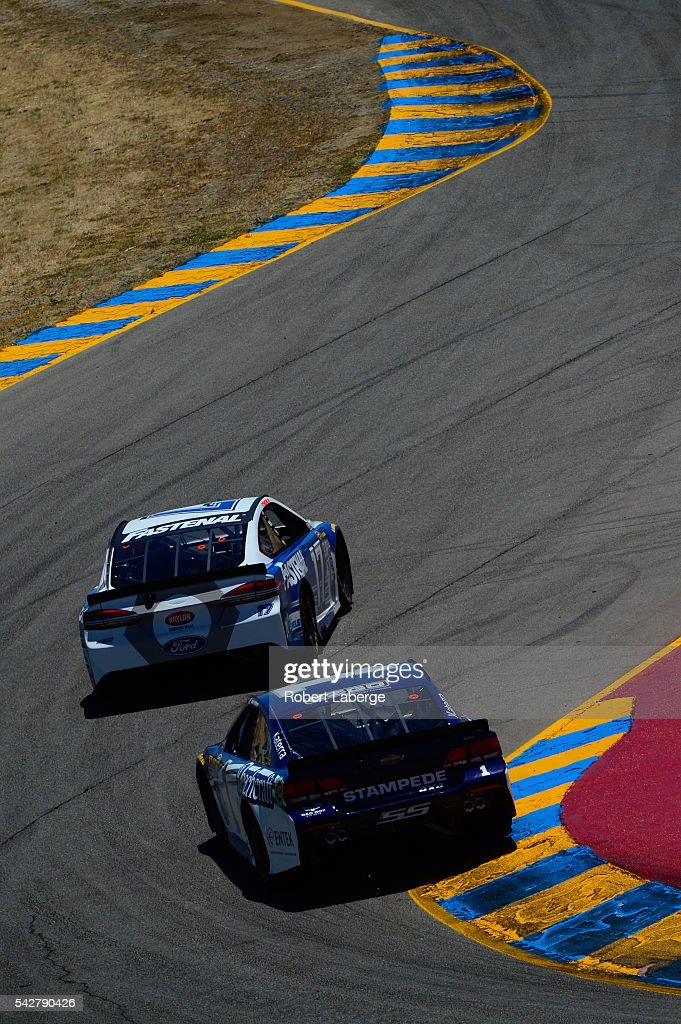 <a gi-track='captionPersonalityLinkClicked' href=/galleries/search?phrase=Jamie+McMurray&family=editorial&specificpeople=198964 ng-click='$event.stopPropagation()'>Jamie McMurray</a>, driver of the #1 Cessna Chevrolet, and Ricky Stenhouse Jr, driver of the #17 Fastenal Ford, drive during practice for the NASCAR Sprint Cup Series Toyota/Save Mart 350 at Sonoma Raceway on June 24, 2016 in Sonoma, California.