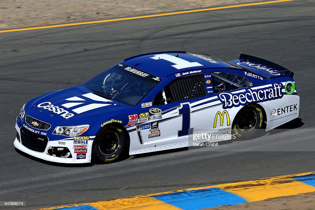 <a gi-track='captionPersonalityLinkClicked' href=/galleries/search?phrase=Jamie+McMurray&family=editorial&specificpeople=198964 ng-click='$event.stopPropagation()'>Jamie McMurray</a>, driver of the #1 Cessna Chevrolet, practices for the NASCAR Sprint Cup Series Toyota/Save Mart 350 at Sonoma Raceway on June 24, 2016 in Sonoma, California.