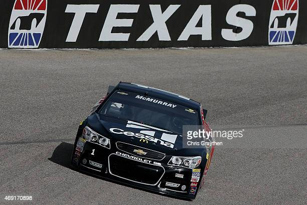 Jamie McMurray driver of the Cessna/McDonald's Chevrolet practices for the NASCAR Sprint Cup Series Duck Commander 500 at Texas Motor Speedway on...