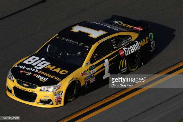 Jamie McMurray driver of the McDonald's Big Mac Chevrolet drives during practice for the Monster Energy NASCAR Cup Series Advance Auto Parts Clash on...