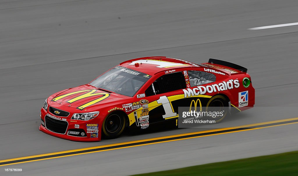 Jamie McMurray, driver of the #1 McDonald's Chevrolet, drives during practice for the NASCAR Sprint Cup Series Aaron's 499 at Talladega Superspeedway on May 3, 2013 in Talladega, Alabama.