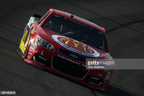 Jamie McMurray driver of the McDonald's Chevrolet drives during qualifying for the Monster Energy NASCAR Cup Series Auto Club 400 at Auto Club...