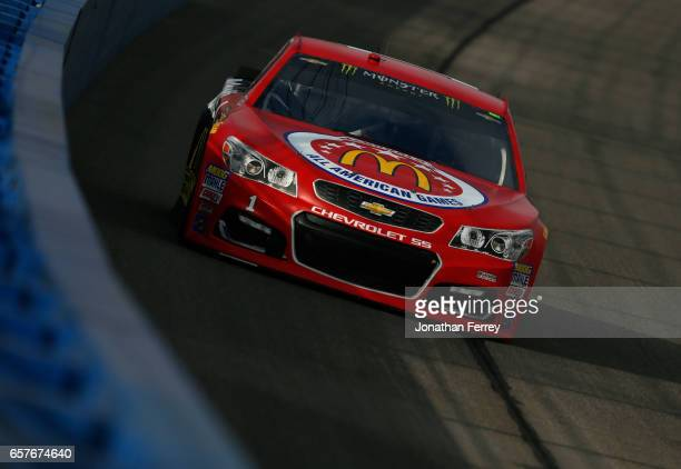 Jamie McMurray driver of the McDonald's Chevrolet drives during practice for the Monster Energy NASCAR Cup Series Auto Club 400 at Auto Club Speedway...