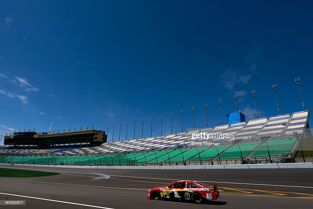 Jamie McMurray, driver of the #1 McDonald's Chevrolet, practices for the NASCAR Camping World Truck Series SFP 250 at Kansas Speedway on April 19, 2013 in Kansas City, Kansas.