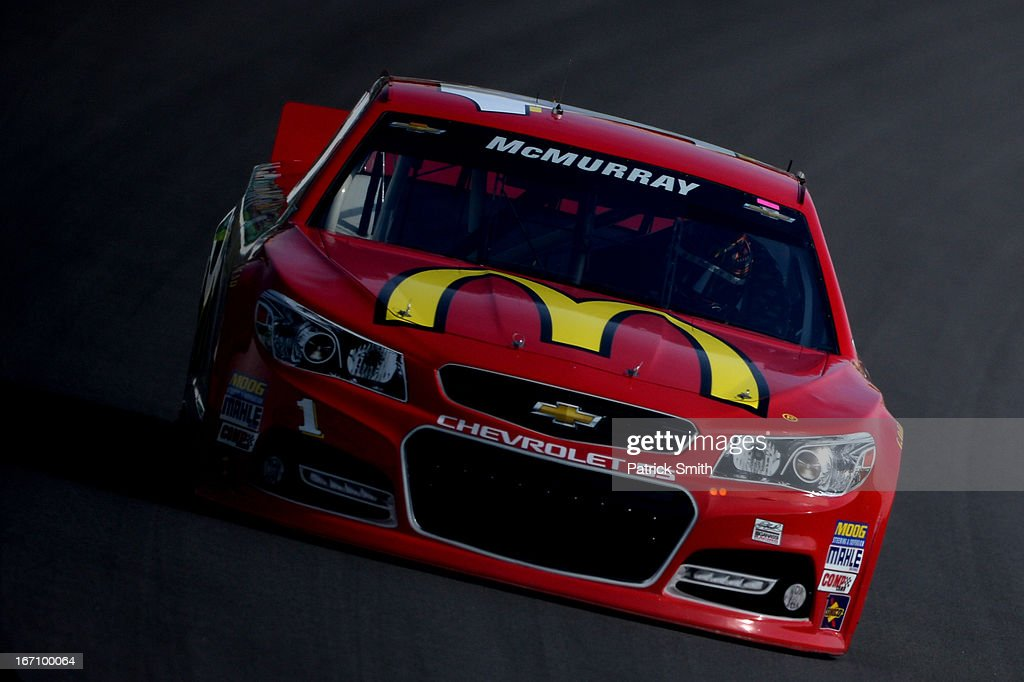 Jamie McMurray, driver of the #1 McDonald's Chevrolet, practices for the NASCAR Sprint Cup Series STP 400 at Kansas Speedway on April 20, 2013 in Kansas City, Kansas.