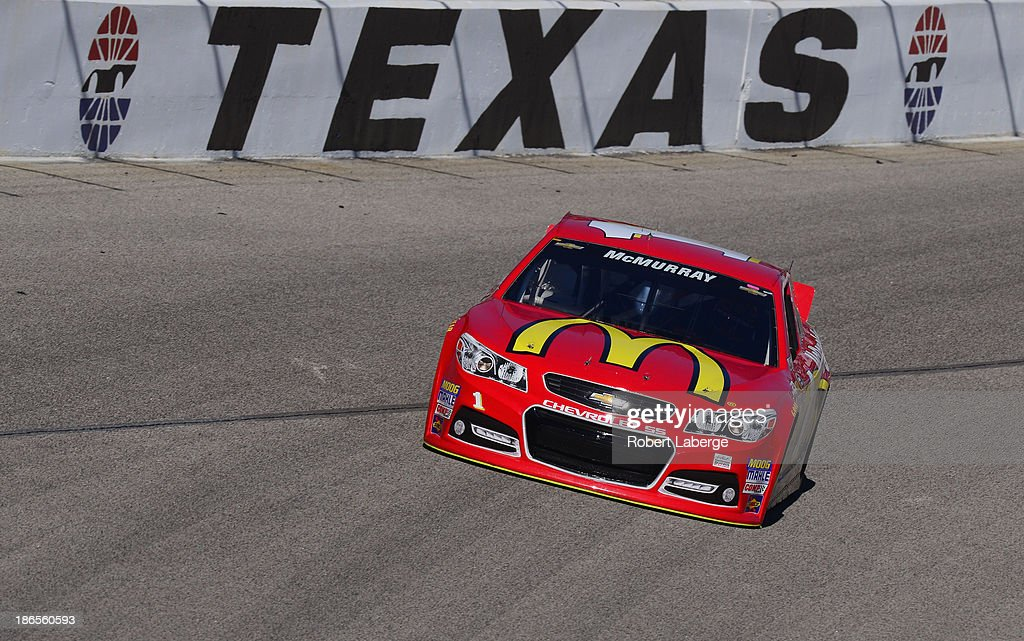 Jamie McMurray, driver of the #1 McDonald's Chevrolet, practices for the NASCAR Sprint Cup Series AAA Texas 500 at Texas Motor Speedway on November 1, 2013 in Fort Worth, Texas.