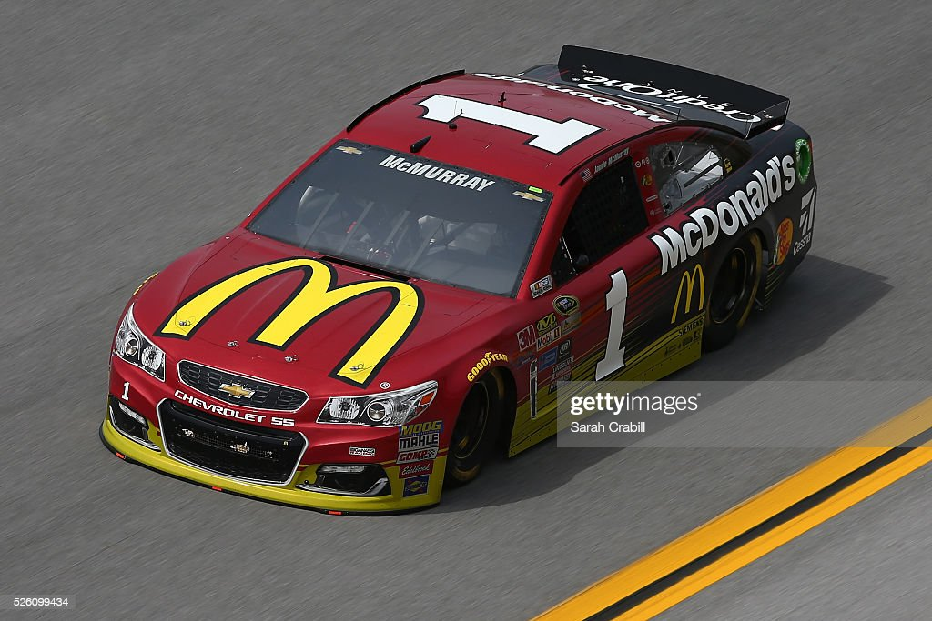 <a gi-track='captionPersonalityLinkClicked' href=/galleries/search?phrase=Jamie+McMurray&family=editorial&specificpeople=198964 ng-click='$event.stopPropagation()'>Jamie McMurray</a>, driver of the #1 McDonald's Chevrolet, practices for the NASCAR Sprint Cup Series GEICO 500 at Talladega Superspeedway on April 29, 2016 in Talladega, Alabama.