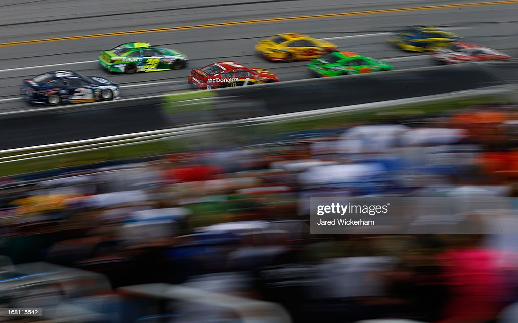Jamie McMurray, driver of the #1 McDonald's Chevrolet, races with a pack of cars during the NASCAR Sprint Cup Series Aaron's 499 at Talladega Superspeedway on May 5, 2013 in Talladega, Alabama.