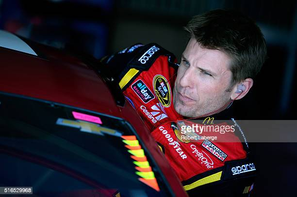 Jamie McMurray driver of the McDonald's Chevrolet sits in his car during practice for the NASCAR Sprint Cup Series Auto Club 400 at Auto Club...