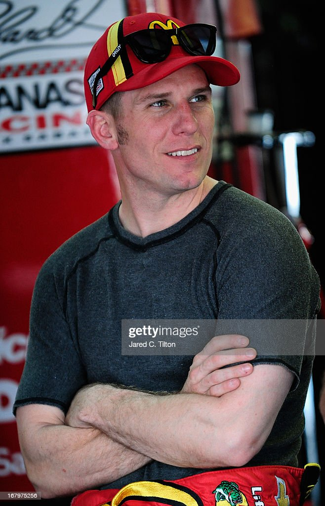 Jamie McMurray, driver of the #1 McDonald's Chevrolet, sits in the garage area during practice for the NASCAR Sprint Cup Series Aaron's 499 at Talladega Superspeedway on May 3, 2013 in Talladega, Alabama.