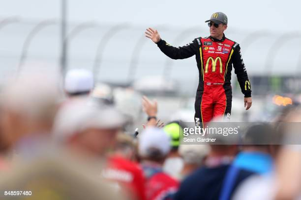 Jamie McMurray driver of the McDonald's/Cessna Chevrolet is introduced prior to the Monster Energy NASCAR Cup Series Tales of the Turtles 400 at...