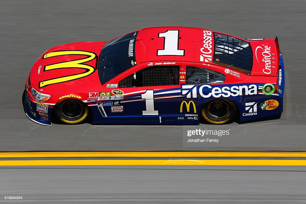 <a gi-track='captionPersonalityLinkClicked' href=/galleries/search?phrase=Jamie+McMurray&family=editorial&specificpeople=198964 ng-click='$event.stopPropagation()'>Jamie McMurray</a>, driver of the #1 McDonald's/Cessna Chevrolet, practices for the NASCAR Sprint Cup Series Daytona 500 at Daytona International Speedway on February 13, 2016 in Daytona Beach, Florida.