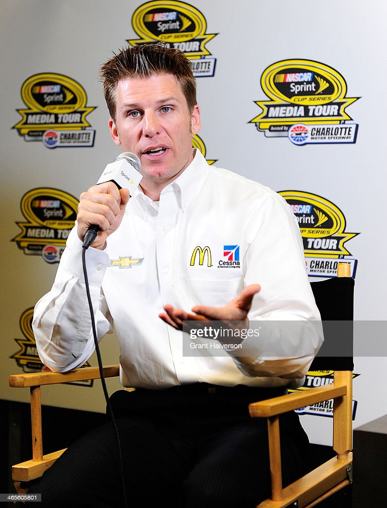 Jamie McMurray, driver of the #1 McDonalds/Cessna Chevrolet, speaks with the media during the NASCAR Sprint Media Tour at Charlotte Convention Center on January 28, 2014 in Charlotte, North Carolina.