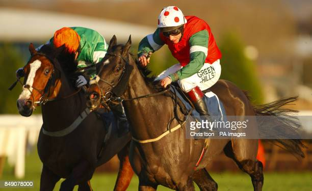 Jamie Moore on Sizing Santiago wins the Sportingbet Handicap Steeple Chase during the The Sportingbet Winter Festival at Newbury Racecourse
