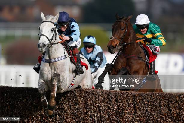 Jamie Moore riding Grey Gold clear the last to win The Betfred 'Treble Odds On Lucky 15's' Handicap Chase at Sandown Park on February 4 2017 in Esher...