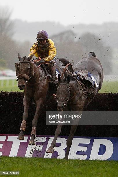 Jamie Moore riding Mountainous clear the last to win The Coral Welsh Grand National at Chepstow racecourse on January 09 2016 in Chepstow Wales