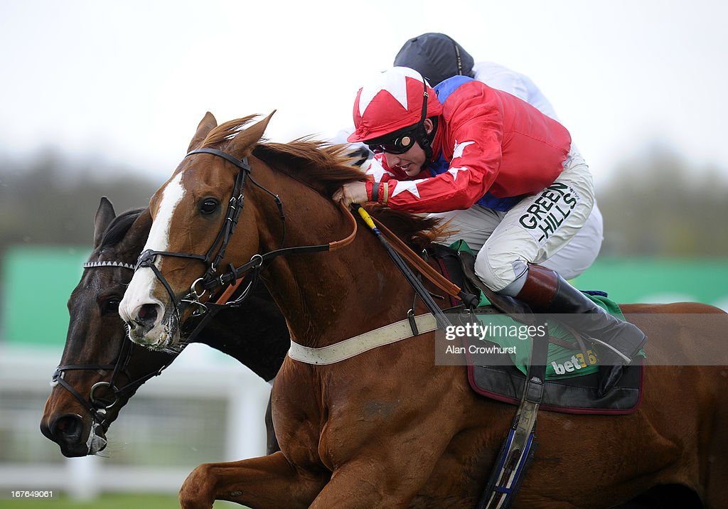 <a gi-track='captionPersonalityLinkClicked' href=/galleries/search?phrase=Jamie+Moore+-+Jockey&family=editorial&specificpeople=220586 ng-click='$event.stopPropagation()'>Jamie Moore</a> riding Sire De Grugy (red) clear the last to win The bet365.com Celebration Steeple Chase from Finian's Rainbow at Sandown racecourse on April 27, 2013 in Esher, England.