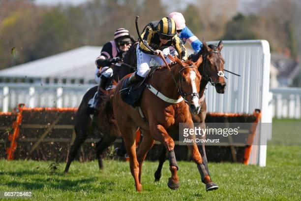 Jamie Moore riding So Celebre clear the last to win The Mitie Events Leisure Juvenile Handicap Hurdle Race at Ascot Racecourse on April 2 2017 in...