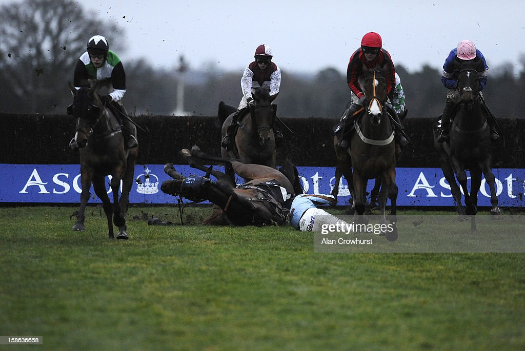 <a gi-track='captionPersonalityLinkClicked' href=/galleries/search?phrase=Jamie+Moore+-+Jockey&family=editorial&specificpeople=220586 ng-click='$event.stopPropagation()'>Jamie Moore</a> riding Vino Griego fall at Ascot racecourse on December 22, 2012 in Ascot, England.