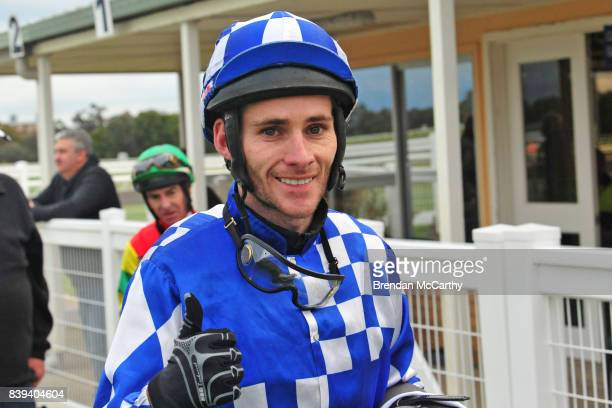 Jamie Mott after winning the The Early Bird Cafe Now For Sale 0 58 Handicap at Donald Racecourse on August 26 2017 in Donald Australia