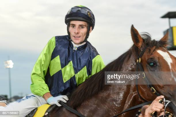 Jamie Mott with Doubt I'm Dreaming after winning the Ascend Sales Valley Pearl at Moonee Valley Racecourse on March 24 2017 in Moonee Ponds Australia