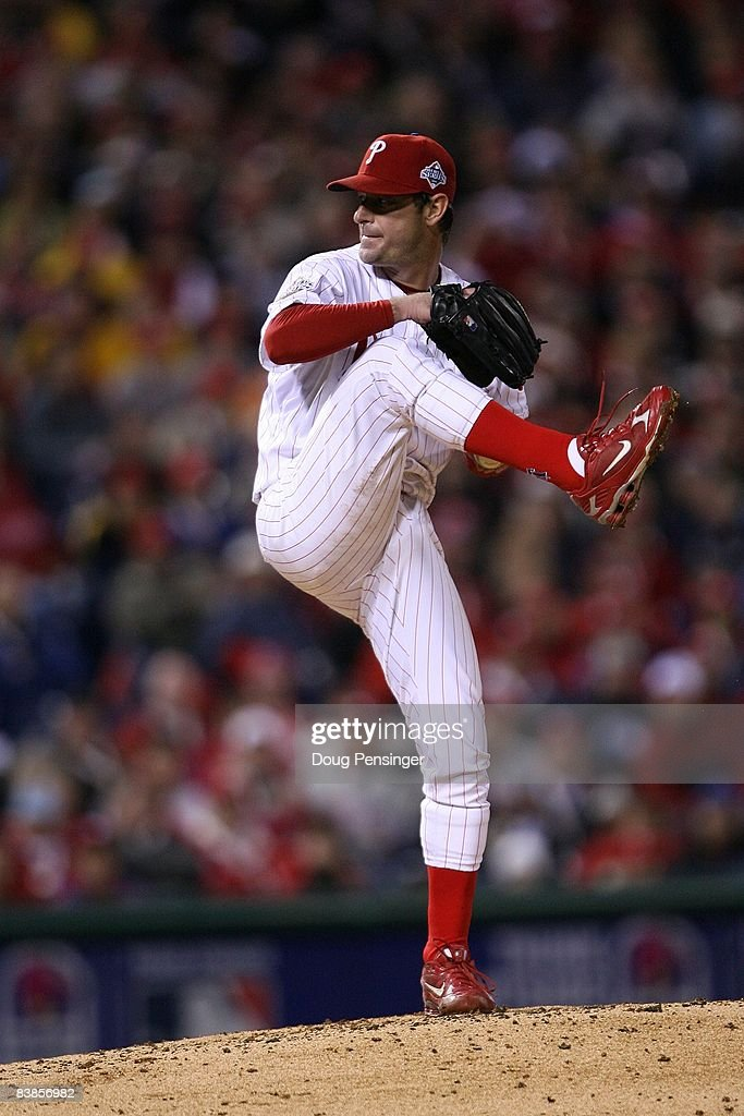 Jamie Moyer #50 of the Philadelphia Phillies throws a pitch against the Tampa Bay Rays during game three of the 2008 MLB World Series on October 25, 2008 at Citizens Bank Park in Philadelphia, Pennsylvania.