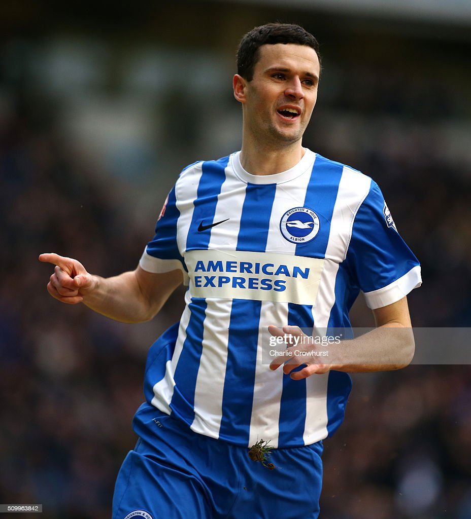 Jamie Murphy of Brighton celebrates after scoring the first goal of the game during the Sky Bet Championship match between Brighton and Hove Albion and Bolton Wanderers at The Amex Stadium on February 13, 2016 in Brighton, England.