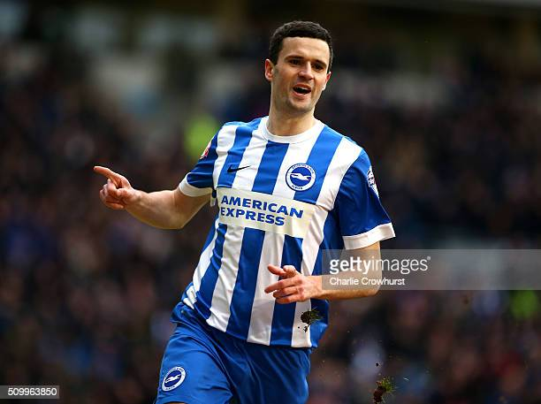 Jamie Murphy of Brighton celebrates after scoring the first goal of the game during the Sky Bet Championship match between Brighton and Hove Albion...