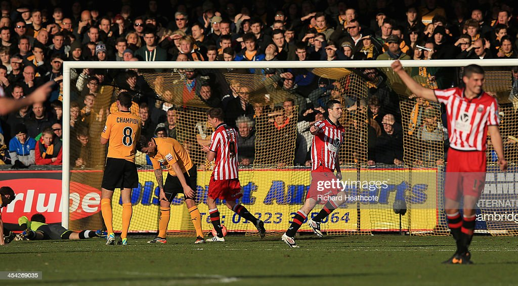 Jamie Murphy of Sheffield celebrates scoring the second goal during the FA Cup Second Round match between Cambridge United and Sheffield United at the Abbey Stadium on December 8, 2013 in Cambridge, Cambridgeshire.