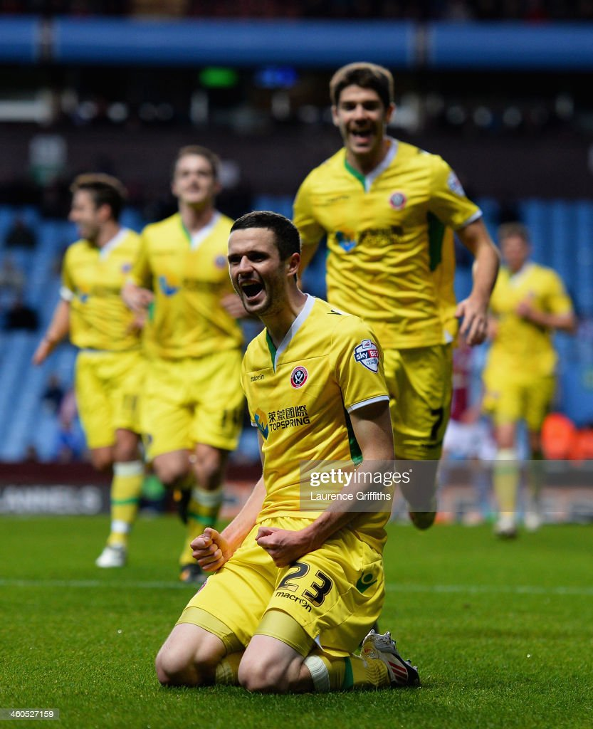 Jamie Murphy of Sheffield United celebrates scoring the opening goal during the Budweiser FA Cup Third Round match between Aston Villa and Sheffield United at Villa Park on January 4, 2014 in Birmingham, England.