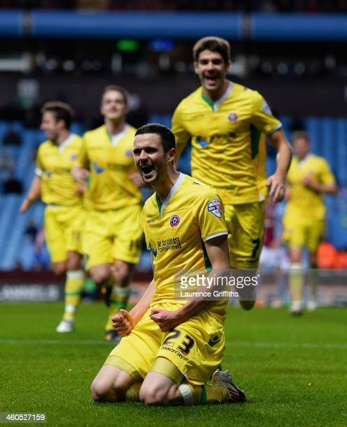 Jamie Murphy of Sheffield United celebrates scoring the opening goal during the Budweiser FA Cup Third Round match between Aston Villa and Sheffield...