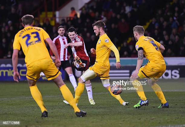 Jamie Murphy of Sheffield United scores the opening goal during the FA Cup Fourth Round Replay match between Shefield United and Preston North End at...