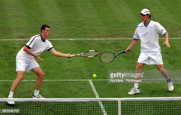Jamie Murray and Andy Murray in action against Justin Gimelstop and Stanislas Wawrinka during the Red Letter Days Open at the City of Nottingham...