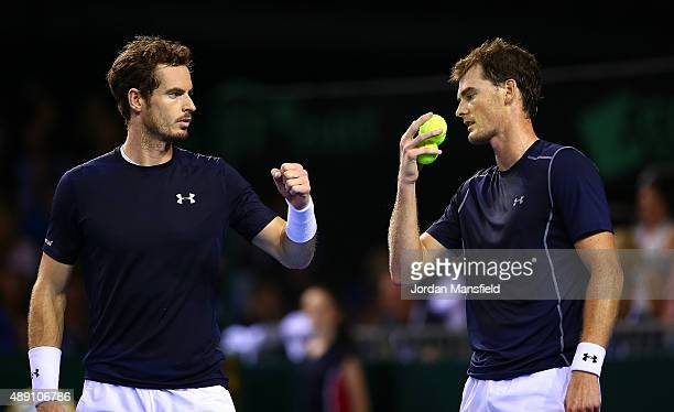 Jamie Murray and Andy Murray of Great Britain celebrate a point during Day Two of the Davis Cup Semi Final match between Great Britain and Australia...
