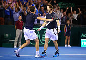 Jamie Murray and Andy Murray of Great Britain celebrate victory in their Doubles match during Day Two of the Davis Cup Semi Final match between Great...