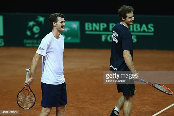 Jamie Murray and Andy Murray of Great Britain in good spirits during a doubles practice session ahead of the start of the Davis Cup Final at Flanders...