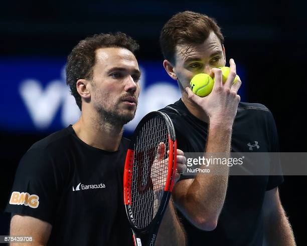 Jamie Murray and Bruno Soares against Lukaez Kubut and Marcelo Melo during Day six of the Nitto ATP World Tour Finals played at The O2 Arena London...