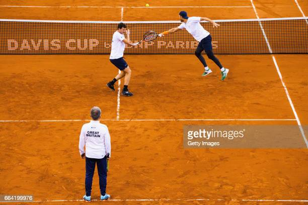 Jamie Murray and Dominic Inglot of Great Britain practice prior to the France v Great Britain Davis Cup World Group QuarterFinal on April 3 2017 in...