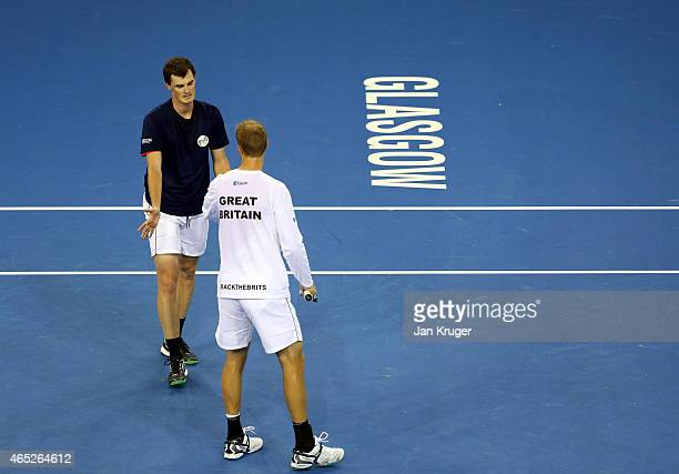 Jamie Murray and Dominic Inglot of The Aegon GB Davis Cup Team takes part in practice ahead of the Davis Cup match between GB and USA at Emirates...