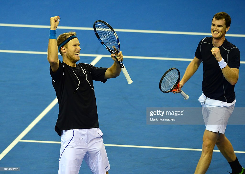 Jamie Murray and Dominic Inglot of the Aegon GB Davis Cup Team celebrate winning the fourth set against Mike Bryan and Bob Bryan of the United States...