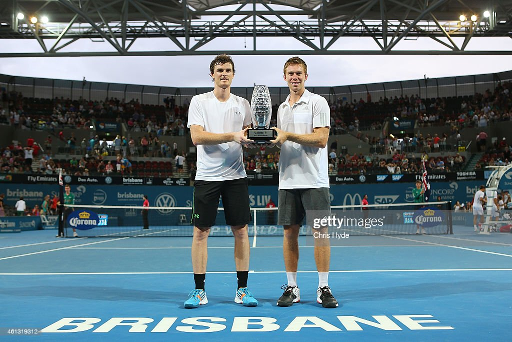 Jamie Murray and John Peers hold the winners trophy after the Mens doubles final against Kei Nishikori and Alexandr Dolgopolov during day eight of...
