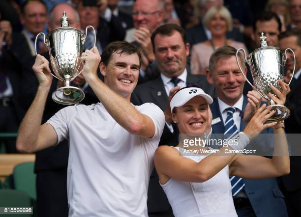 Jamie Murray and Martina Hingis celebrate their victory against Henri Kontinen Heather Watson in the Final of the Mixed Doubles at Wimbledon on July...