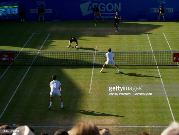 Jamie Murray and partner Bruno Soares in action during their victory against Julien Benneteau and Edouard RogerVasselin in their Men's Doubles Final...