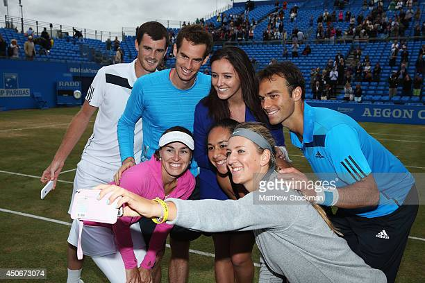 Jamie Murray Andy Murray Laura Robson Ross Hutchins Martina Hingis Heather Watson and Victoria Azarenka take a 'selfie' as they attend a 'Rally for...