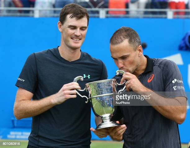 Jamie Murray Bruno Soares with Trophy after during Men's Doubles Final match on the day seven of the ATP Aegon Championships at the Queen's Club in...
