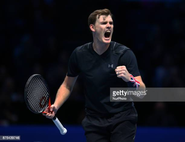 Jamie Murray celebrates they win during Day six of the Nitto ATP World Tour Finals played at The O2 Arena London on November 17 2017