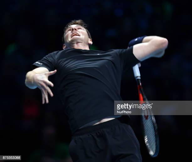 Jamie Murray in action against Ivan Dodig and Marcel Granollers during Day Four of the Nitto ATP World Tour Finals played at The O2 Arena London on...