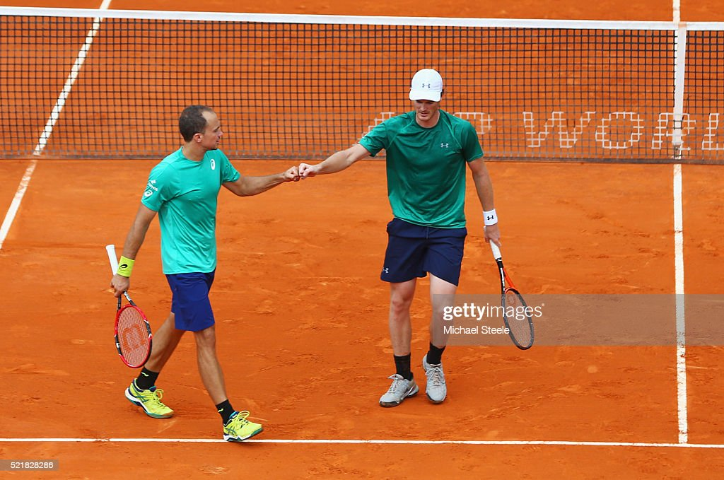 <a gi-track='captionPersonalityLinkClicked' href=/galleries/search?phrase=Jamie+Murray+-+Tennis+Player&family=editorial&specificpeople=4393751 ng-click='$event.stopPropagation()'>Jamie Murray</a> of Great Britain and <a gi-track='captionPersonalityLinkClicked' href=/galleries/search?phrase=Bruno+Soares+-+Tennis+Player&family=editorial&specificpeople=11650044 ng-click='$event.stopPropagation()'>Bruno Soares</a> of Brazil (L)celebrate a point during the doubles final match against Pierre Hugues Herbert of France and Nicolas Mahut of France on day eight of the Monte Carlo Rolex Masters at Monte-Carlo Sporting Club on April 17, 2016 in Monte-Carlo, Monaco.