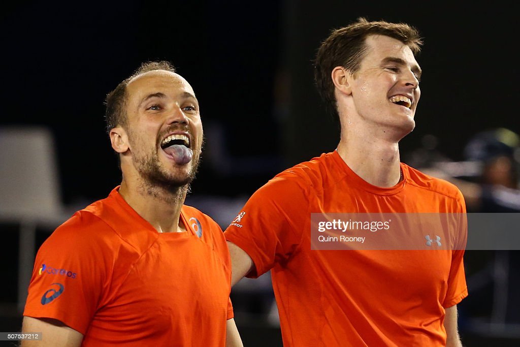 <a gi-track='captionPersonalityLinkClicked' href=/galleries/search?phrase=Jamie+Murray+-+Tennis+Player&family=editorial&specificpeople=4393751 ng-click='$event.stopPropagation()'>Jamie Murray</a> of Great Britain and <a gi-track='captionPersonalityLinkClicked' href=/galleries/search?phrase=Bruno+Soares+-+Tennis+Player&family=editorial&specificpeople=11650044 ng-click='$event.stopPropagation()'>Bruno Soares</a> of Brazil celebrate winning their Men's Doubles Final match against Daniel Nestor of Canada and Radek Stepanek of the Czech Republic during day 13 of the 2016 Australian Open at Melbourne Park on January 30, 2016 in Melbourne, Australia.
