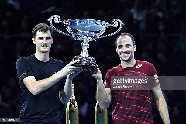 Jamie Murray of Great Britain and Bruno Soares of Brazil celebrate being crowned the Number 1 Men's Doubles Team in the world after their men's...